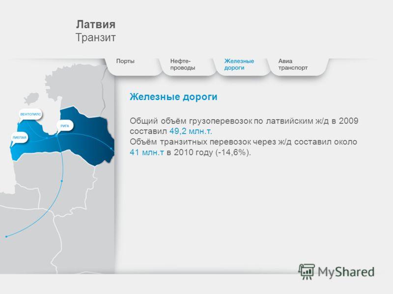 Лaтвия Транзит Железные дороги Общий объём грузоперевозок по латвийским ж/д в 2009 составил 49,2 млн.т. Объём транзитных перевозок через ж/д составил около 41 млн.т в 2010 году (-14,6%).