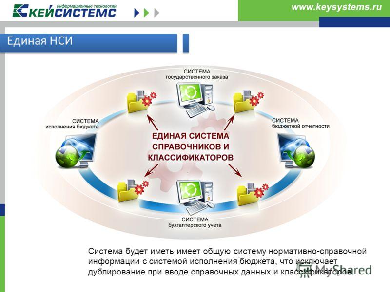 Единая НСИ Система будет иметь имеет общую систему нормативно-справочной информации с системой исполнения бюджета, что исключает дублирование при вводе справочных данных и классификаторов.