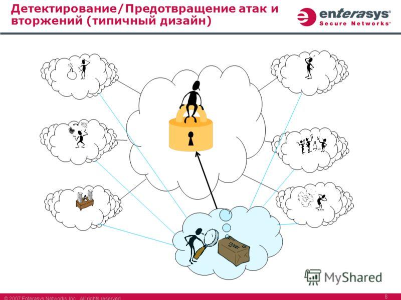 © 2007 Enterasys Networks, Inc. All rights reserved. 8 Детектирование/Предотвращение атак и вторжений (типичный дизайн)