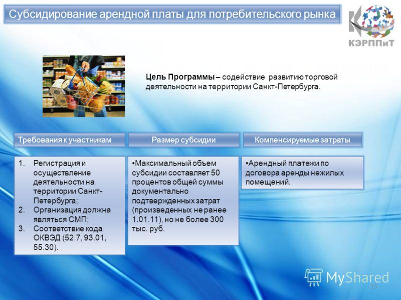Субсидирование арендной платы для потребительского рынка 13 Цель Программы – содействие развитию торговой деятельности на территории Санкт-Петербурга. Требования к участникам 1.Регистрация и осуществление деятельности на территории Санкт- Петербурга;