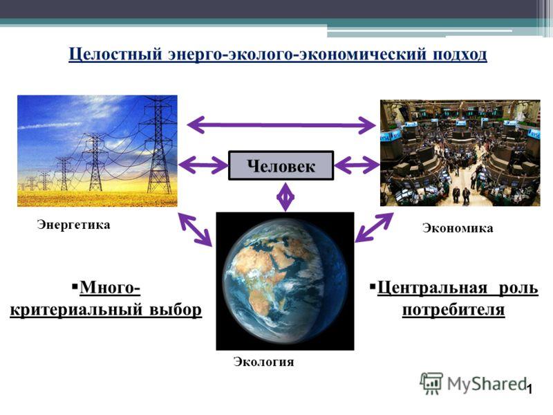 Целостный энерго - эколого - экономический подход Центральная роль потребителя 1 Энергетика Экономика Человек Экология Много- критериальный выбор