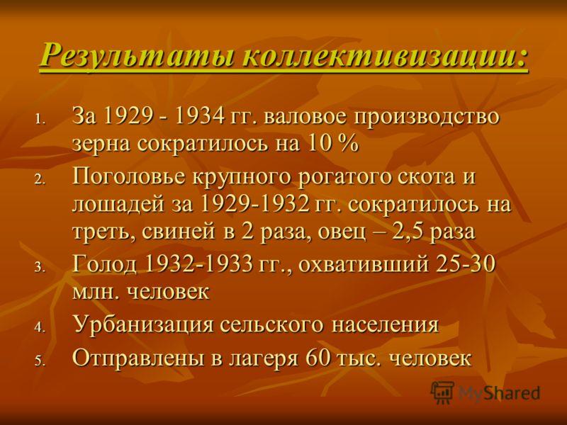 Результаты коллективизации: 1. За 1929 - 1934 гг. валовое производство зерна сократилось на 10 % 2. Поголовье крупного рогатого скота и лошадей за 1929-1932 гг. сократилось на треть, свиней в 2 раза, овец – 2,5 раза 3. Голод 1932-1933 гг., охвативший