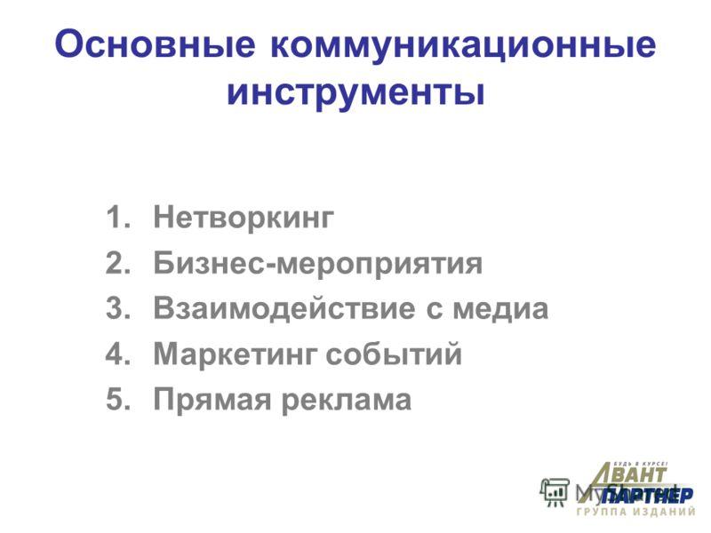 Основные коммуникационные инструменты 1.Нетворкинг 2.Бизнес-мероприятия 3.Взаимодействие с медиа 4.Маркетинг событий 5.Прямая реклама