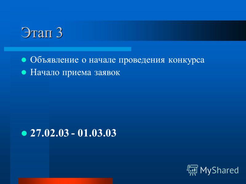 Этап 3 Объявление о начале проведения конкурса Начало приема заявок 27.02.03 - 01.03.03