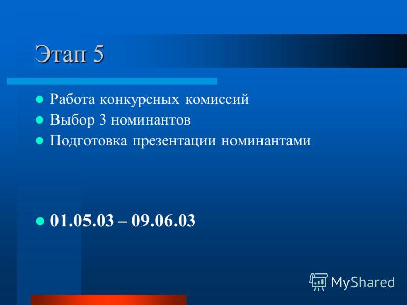 Этап 5 Работа конкурсных комиссий Выбор 3 номинантов Подготовка презентации номинантами 01.05.03 – 09.06.03