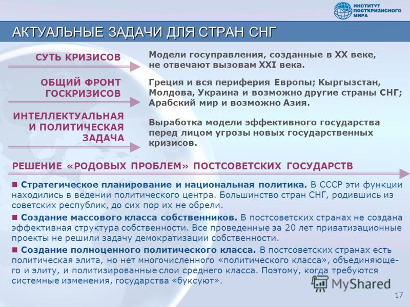 Стратегическое планирование и национальная политика. В СССР эти функции находились в ведении политического центра. Большинство стран СНГ, родившись из советских республик, до сих пор их не обрели. Создание массового класса собственников. В постсоветс
