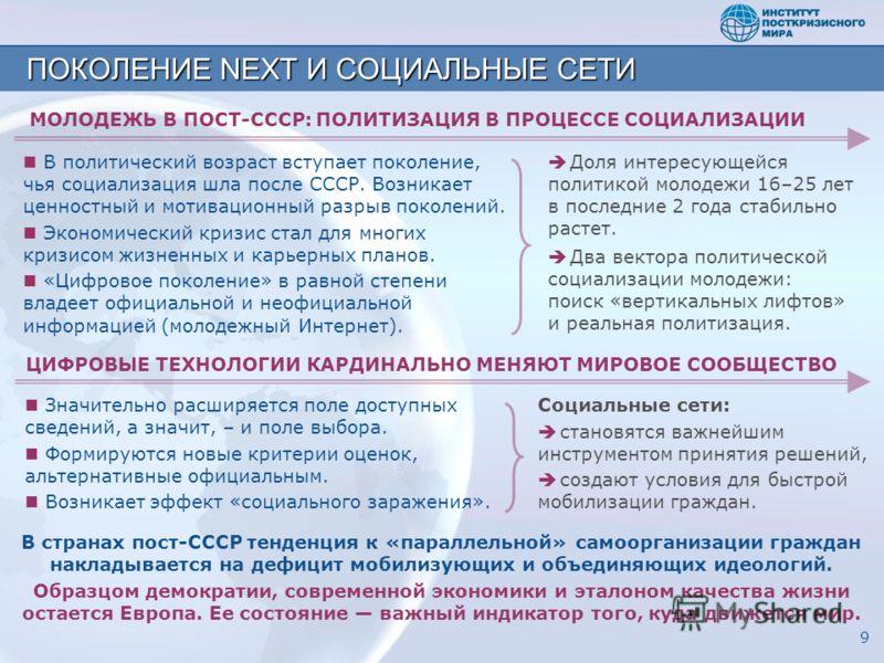 ПОКОЛЕНИЕ NEXT И СОЦИАЛЬНЫЕ СЕТИ 9 В странах пост-СССР тенденция к «параллельной» самоорганизации граждан накладывается на дефицит мобилизующих и объединяющих идеологий. Образцом демократии, современной экономики и эталоном качества жизни остается Ев
