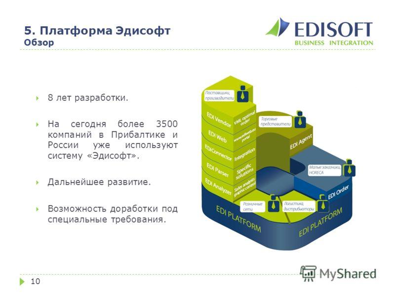 5. Платформа Эдисофт Обзор 10 8 лет разработки. На сегодня более 3500 компаний в Прибалтике и России уже используют систему «Эдисофт». Дальнейшее развитие. Возможность доработки под специальные требования.