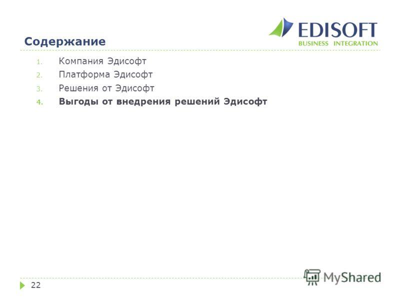 Содержание 22 1. Компания Эдисофт 2. Платформа Эдисофт 3. Решения от Эдисофт 4. Выгоды от внедрения решений Эдисофт