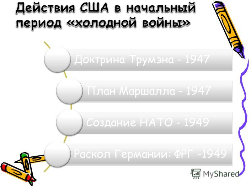 Доктрина Трумэна - 1947 План Маршалла - 1947 Создание НАТО - 1949 Раскол Германии: ФРГ -1949
