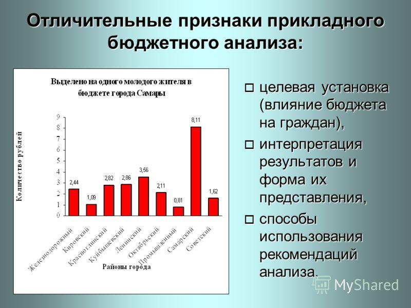 Отличительные признаки прикладного бюджетного анализа: o целевая установка (влияние бюджета на граждан), o интерпретация результатов и форма их представления, o способы использования рекомендаций анализа.