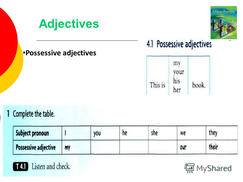 Adjectives Possessive adjectives