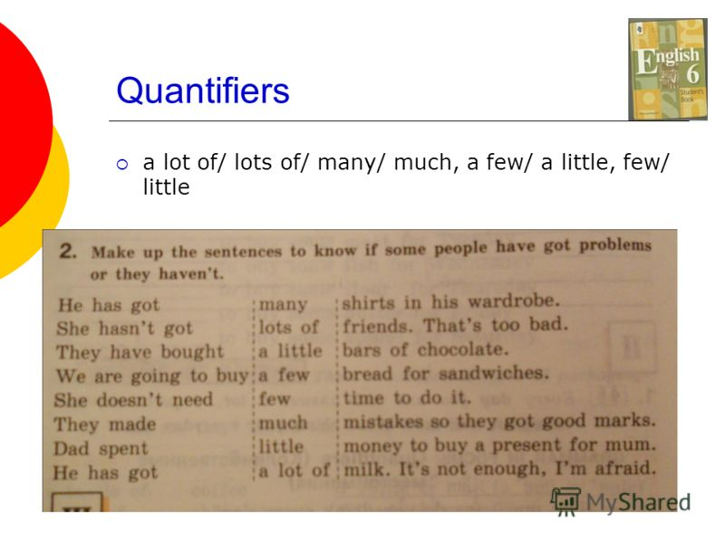 Quantifiers a lot of/ lots of/ many/ much, a few/ a little, few/ little