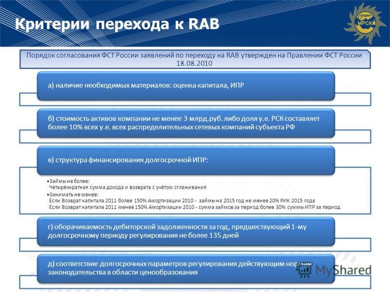 Критерии перехода к RAB а) наличие необходимых материалов: оценка капитала, ИПР б) стоимость активов компании не менее 3 млрд.руб. либо доля у.е. РСК составляет более 10% всех у.е. всех распределительных сетевых компаний субъекта РФ Займы не более: Ч