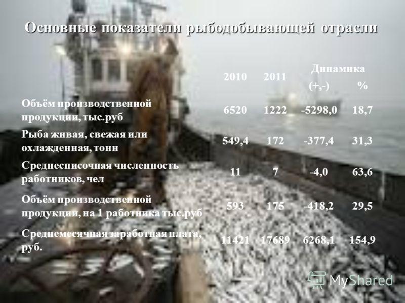 Основные показатели рыбодобывающей отрасли 20102011 Динамика (+,-)% Объём производственной продукции, тыс.руб 65201222-5298,018,7 Рыба живая, свежая или охлажденная, тонн 549,4172-377,431,3 Среднесписочная численность работников, чел 117-4,063,6 Объё