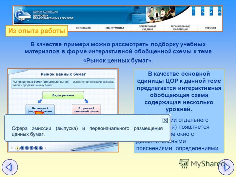 В качестве основной единицы ЦОР к данной теме предлагается интерактивная обобщающая схема содержащая несколько уровней. При активации отдельного понятия (поля) появляется всплывающее окно с дополнительными пояснениями, определениями. В качестве приме