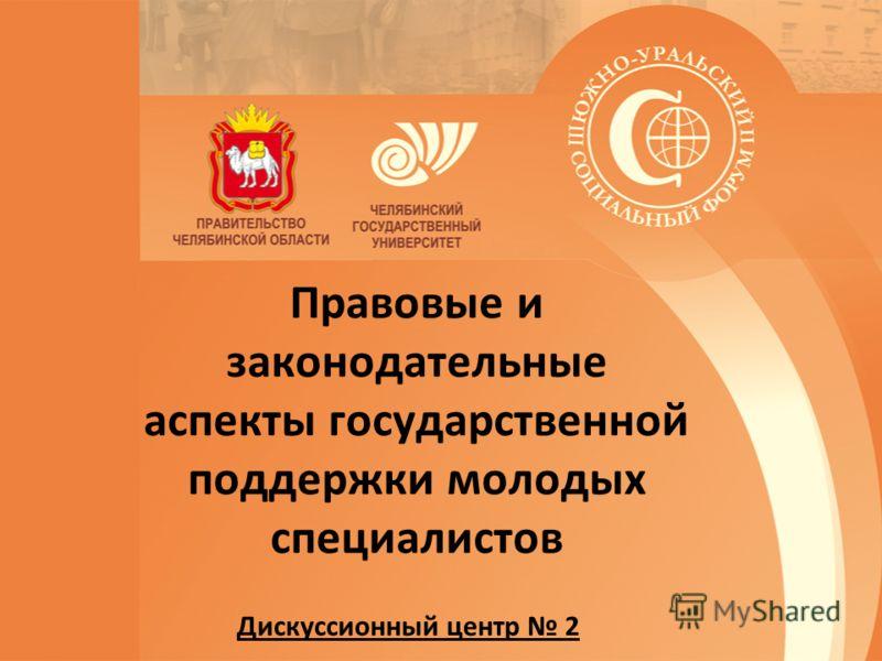 Правовые и законодательные аспекты государственной поддержки молодых специалистов Дискуссионный центр 2