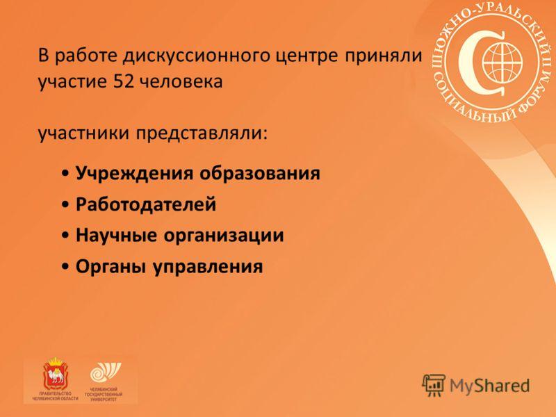 В работе дискуссионного центре приняли участие 52 человека участники представляли: Учреждения образования Работодателей Научные организации Органы управления