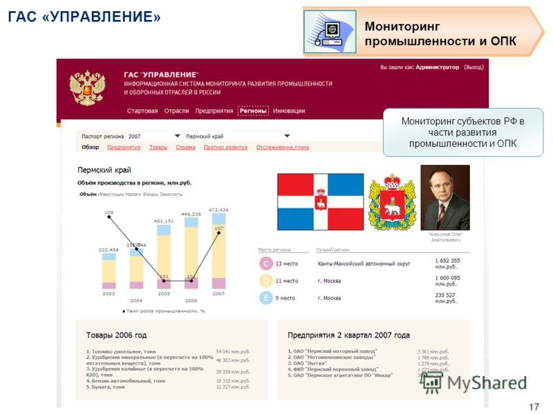 16 ГАС «УПРАВЛЕНИЕ» Мониторинг промышленности и ОПК Мониторинг субъектов РФ в части развития промышленности и ОПК