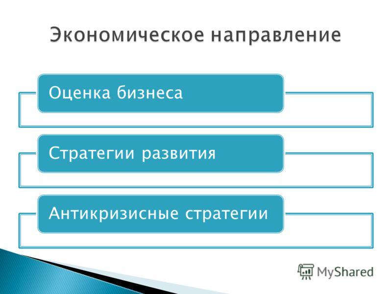 Оценка бизнесаСтратегии развитияАнтикризисные стратегии
