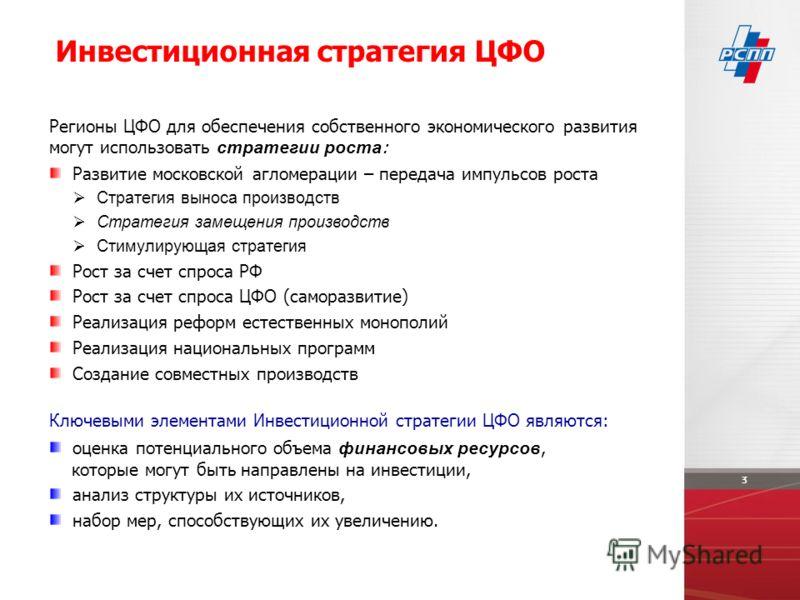 Регионы ЦФО для обеспечения собственного экономического развития могут использовать стратегии роста : Развитие московской агломерации – передача импульсов роста Стратегия выноса производств Стратегия замещения производств Стимулирующая стратегия Рост
