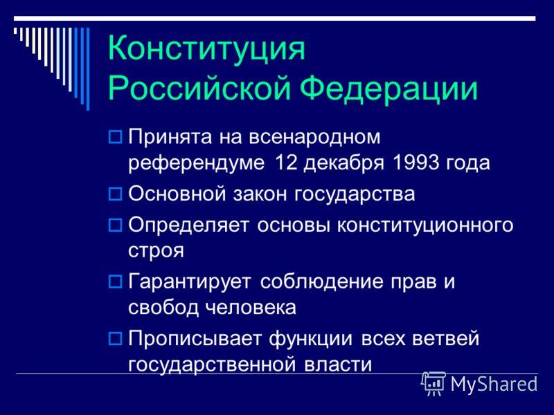 Конституция Российской Федерации Принята на всенародном референдуме 12 декабря 1993 года Основной закон государства Определяет основы конституционного строя Гарантирует соблюдение прав и свобод человека Прописывает функции всех ветвей государственной