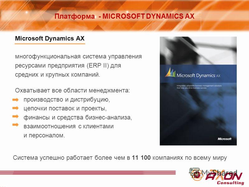 Microsoft Dynamics AX многофункциональная система управления ресурсами предприятия (ERP II) для средних и крупных компаний. Охватывает все области менеджмента: производство и дистрибуцию, цепочки поставок и проекты, финансы и средства бизнес-анализа,