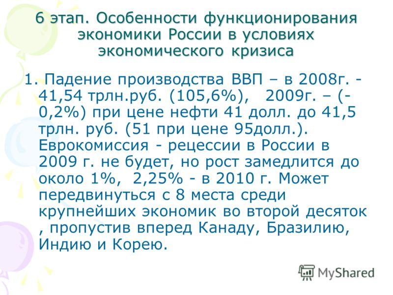 6 этап. Особенности функционирования экономики России в условиях экономического кризиса 1. Падение производства ВВП – в 2008г. - 41,54 трлн.руб. (105,6%), 2009г. – (- 0,2%) при цене нефти 41 долл. до 41,5 трлн. руб. (51 при цене 95долл.). Еврокомисси