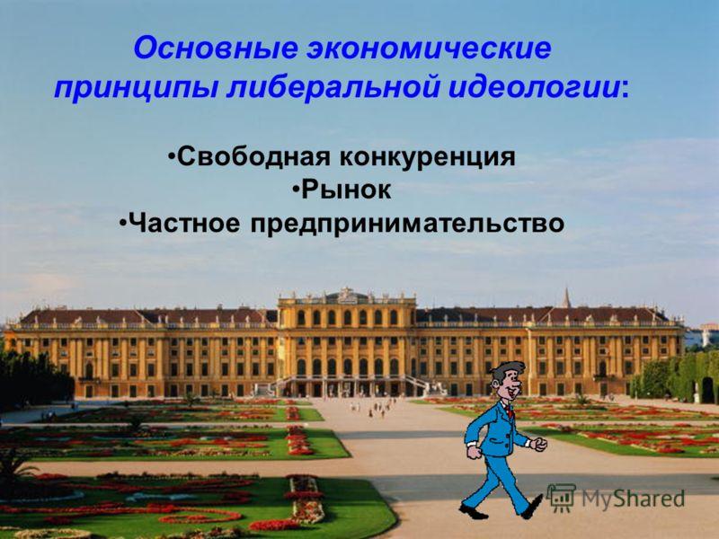 Основные экономические принципы либеральной идеологии: Свободная конкуренция Рынок Частное предпринимательство