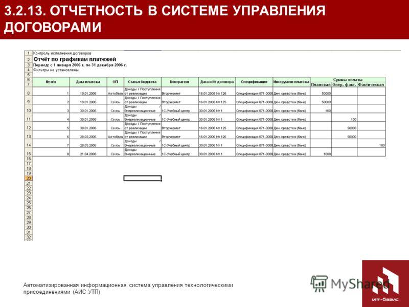 36 Автоматизированная информационная система управления технологическими присоединениями (АИС УТП) 3.2.13. ОТЧЕТНОСТЬ В СИСТЕМЕ УПРАВЛЕНИЯ ДОГОВОРАМИ Отчет по графикам платежей – представляет сводную информацию по плановым и фактическим суммам платеж