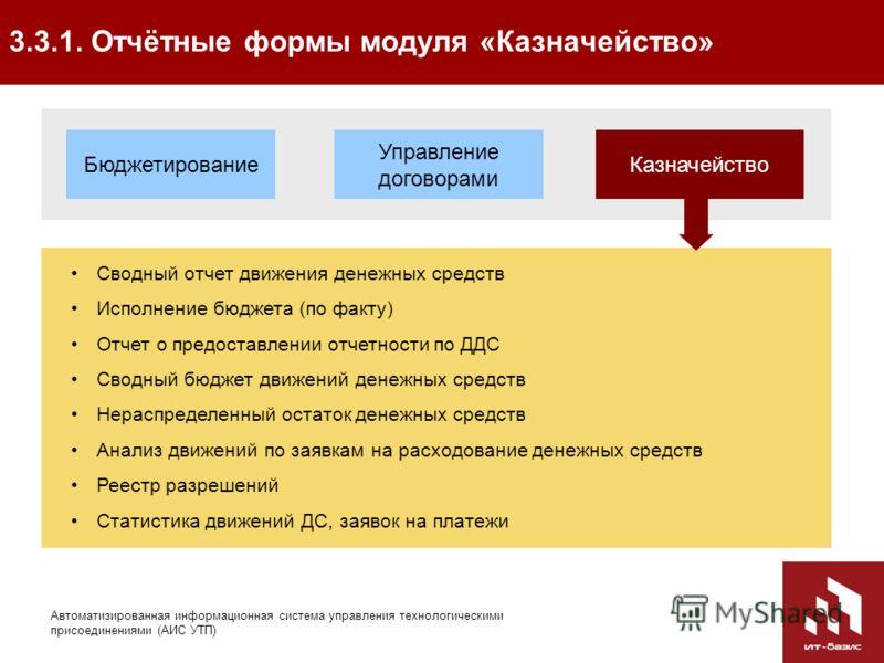 40 Автоматизированная информационная система управления технологическими присоединениями (АИС УТП) 3.3.1. Отчётные формы модуля «Казначейство» Управление договорами КазначействоБюджетирование Сводный отчет движения денежных средств Исполнение бюджета