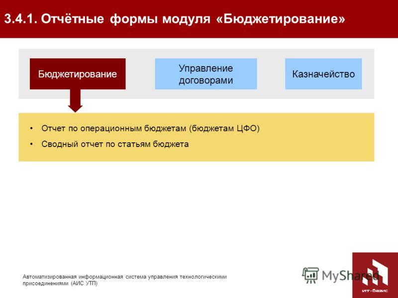 59 Автоматизированная информационная система управления технологическими присоединениями (АИС УТП) 3.4.1. Отчётные формы модуля «Бюджетирование» Управление договорами Казначейство Бюджетирование Отчет по операционным бюджетам (бюджетам ЦФО) Сводный о