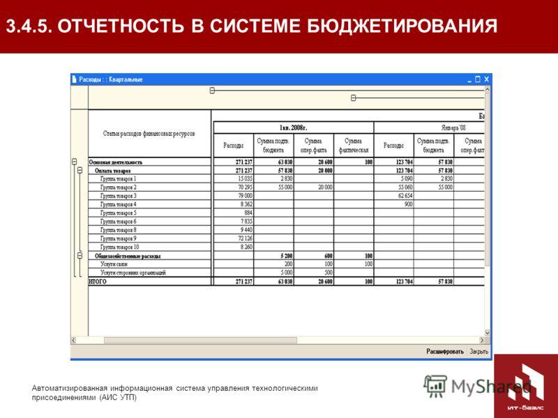 63 Автоматизированная информационная система управления технологическими присоединениями (АИС УТП) 3.4.5. ОТЧЕТНОСТЬ В СИСТЕМЕ БЮДЖЕТИРОВАНИЯ