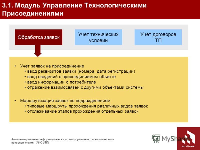 8 Автоматизированная информационная система управления технологическими присоединениями (АИС УТП) 3.1. Модуль Управление Технологическими Присоединениями Учёт технических условий Обработка заявок Учёт договоров ТП Учет заявок на присоединение ввод ре