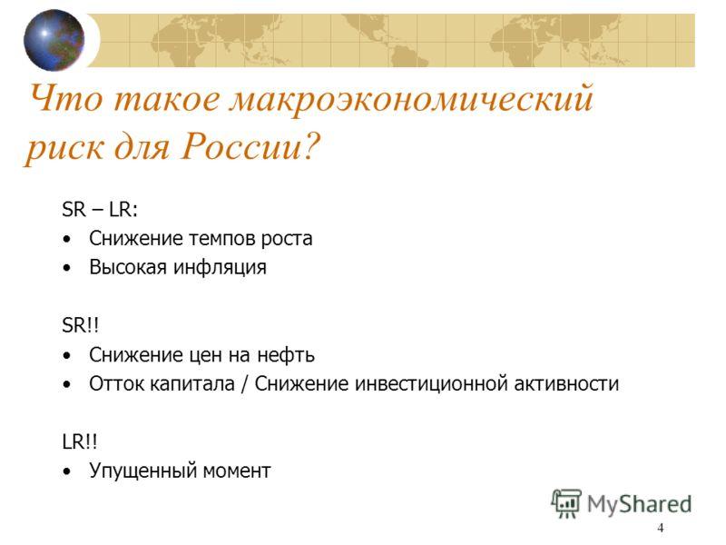 4 Что такое макроэкономический риск для России? SR – LR: Снижение темпов роста Высокая инфляция SR!! Снижение цен на нефть Отток капитала / Снижение инвестиционной активности LR!! Упущенный момент