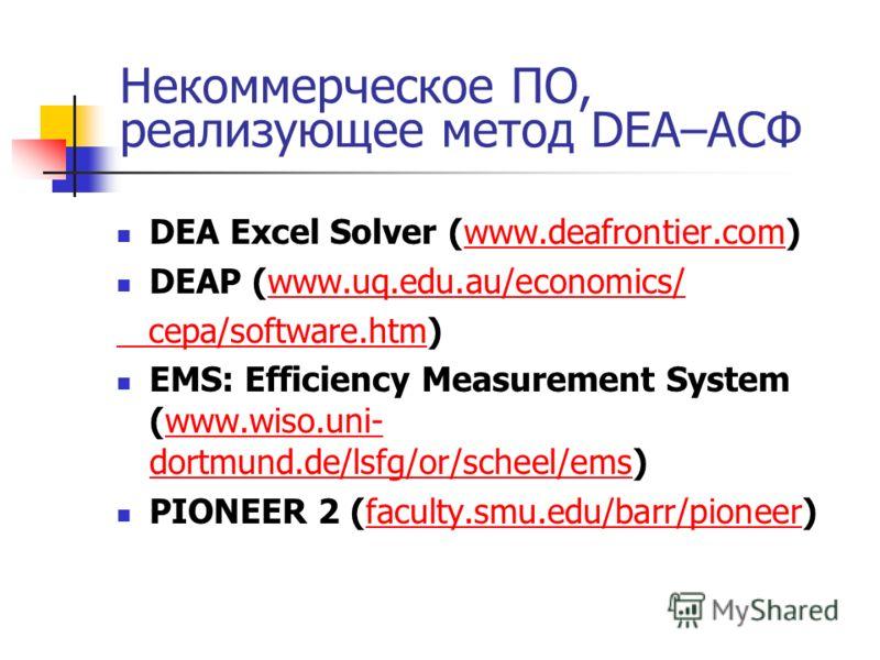 Некоммерческое ПО, реализующее метод DEA–АСФ DEA Excel Solver (www.deafrontier.com)www.deafrontier.com DEAP (www.uq.edu.au/economics/www.uq.edu.au/economics/ cepa/software.htm cepa/software.htm) EMS: Efficiency Measurement System (www.wiso.uni- dortm