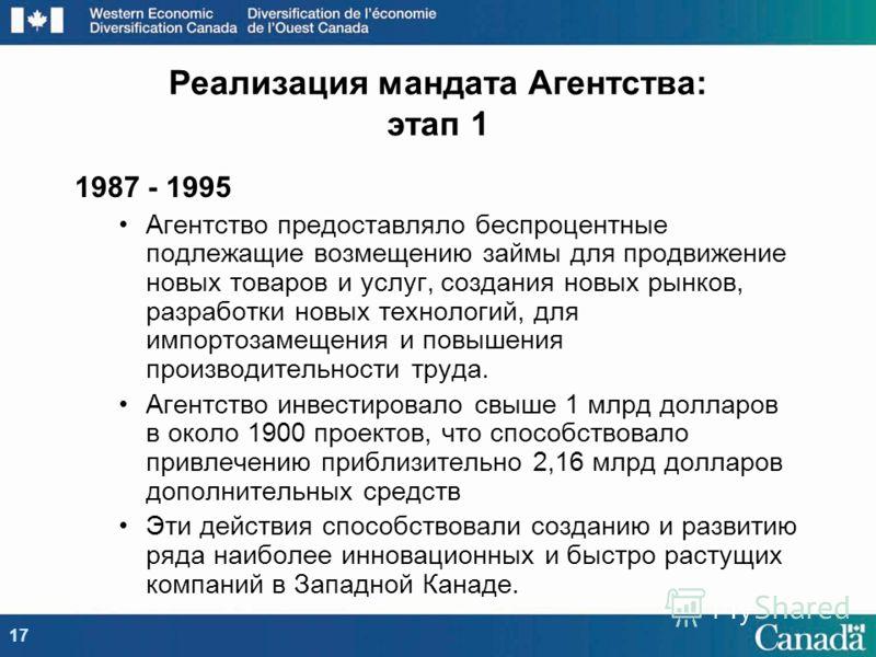 1987 - 1995 Агентство предоставляло беспроцентные подлежащие возмещению займы для продвижение новых товаров и услуг, создания новых рынков, разработки новых технологий, для импортозамещения и повышения производительности труда. Агентство инвестировал