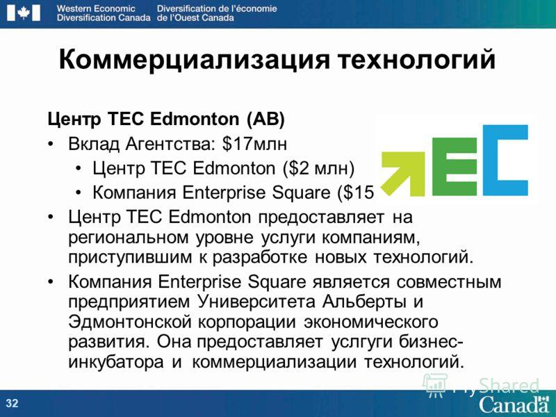 Коммерциализация технологий Центр TEC Edmonton (AB) Вклад Агентства: $17млн Центр TEC Edmonton ($2 млн) Компания Enterprise Square ($15 млн) Центр TEC Edmonton предоставляет на региональном уровне услуги компаниям, приступившим к разработке новых тех