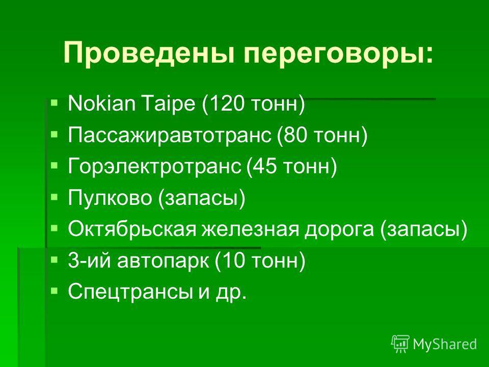 Проведены переговоры: Nokian Taipe (120 тонн) Пассажиравтотранс (80 тонн) Горэлектротранс (45 тонн) Пулково (запасы) Октябрьская железная дорога (запасы) 3-ий автопарк (10 тонн) Спецтрансы и др.