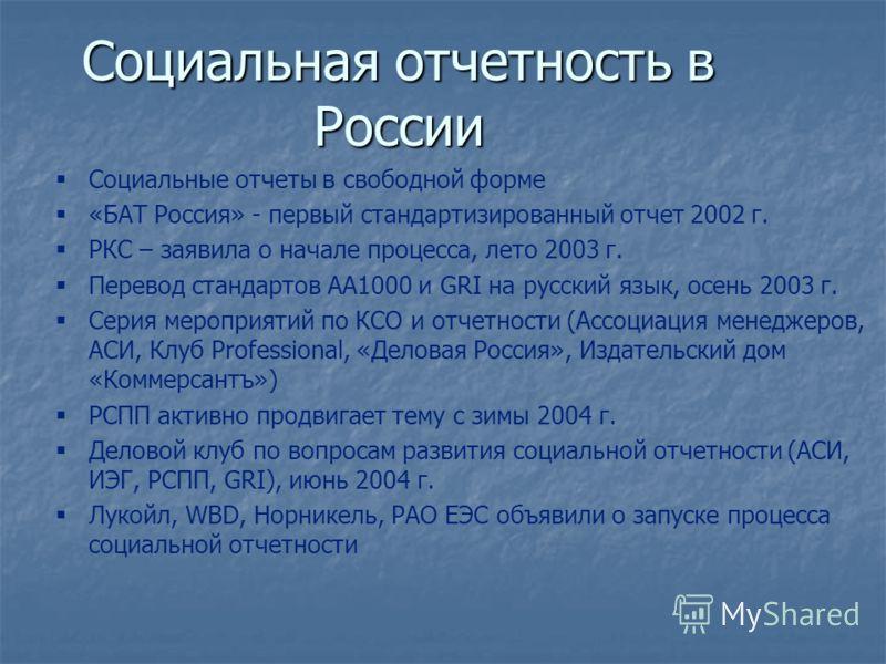 Социальная отчетность в России Социальные отчеты в свободной форме «БАТ Россия» - первый стандартизированный отчет 2002 г. РКС – заявила о начале процесса, лето 2003 г. Перевод стандартов АА1000 и GRI на русский язык, осень 2003 г. Серия мероприятий
