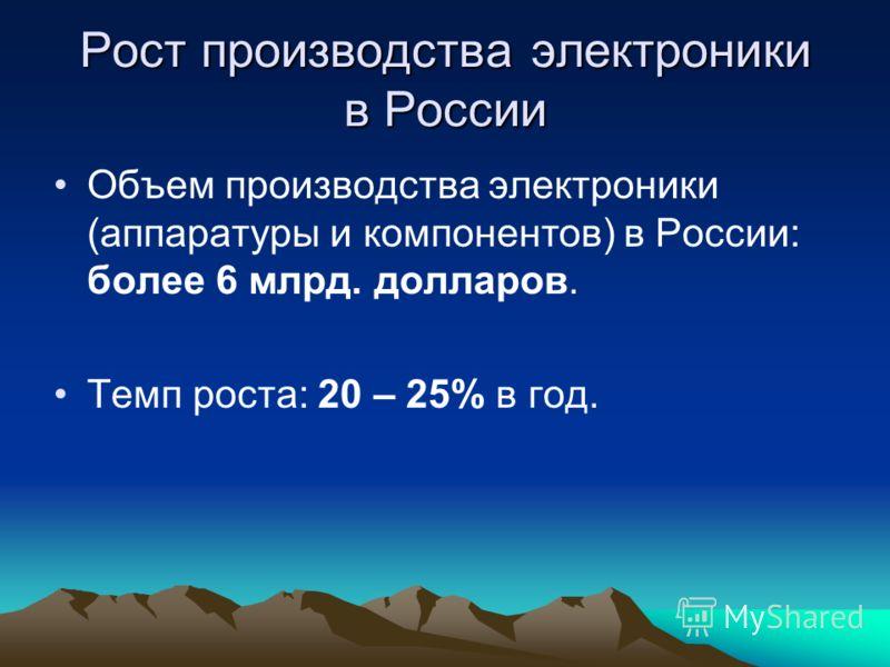Рост производства электроники в России Объем производства электроники (аппаратуры и компонентов) в России: более 6 млрд. долларов. Темп роста: 20 – 25% в год.
