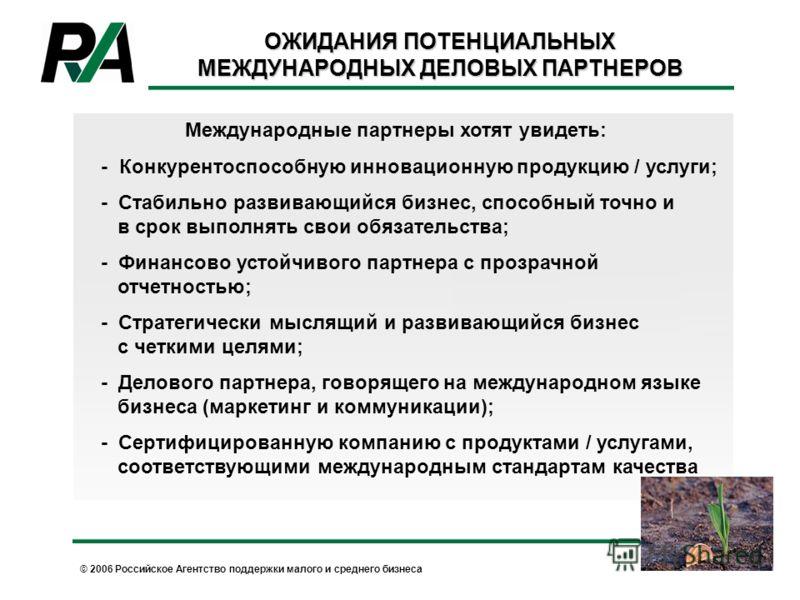 © 2006 Российское Агентство поддержки малого и среднего бизнеса ОЖИДАНИЯ ПОТЕНЦИАЛЬНЫХ МЕЖДУНАРОДНЫХ ДЕЛОВЫХ ПАРТНЕРОВ Международные партнеры хотят увидеть: - Конкурентоспособную инновационную продукцию / услуги; - Стабильно развивающийся бизнес, спо
