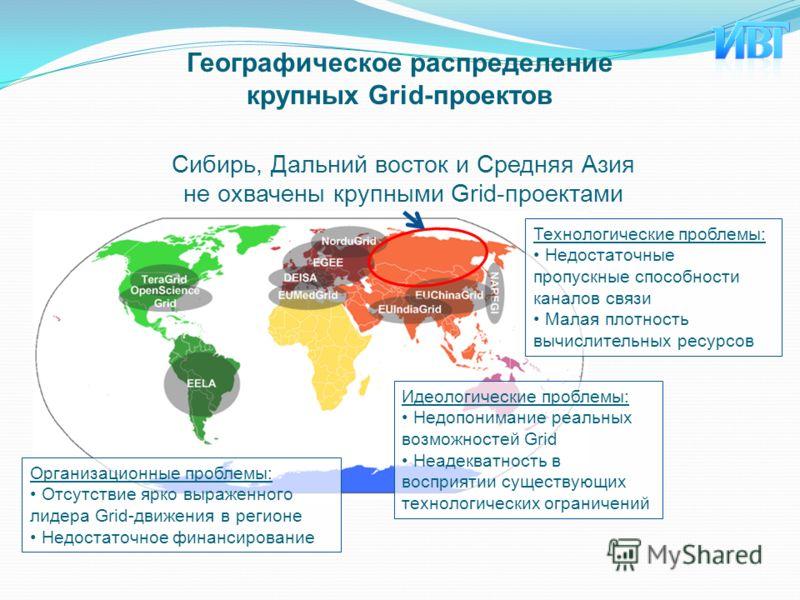 Сибирь, Дальний восток и Средняя Азия не охвачены крупными Grid-проектами Технологические проблемы: Недостаточные пропускные способности каналов связи Малая плотность вычислительных ресурсов Географическое распределение крупных Grid-проектов Организа