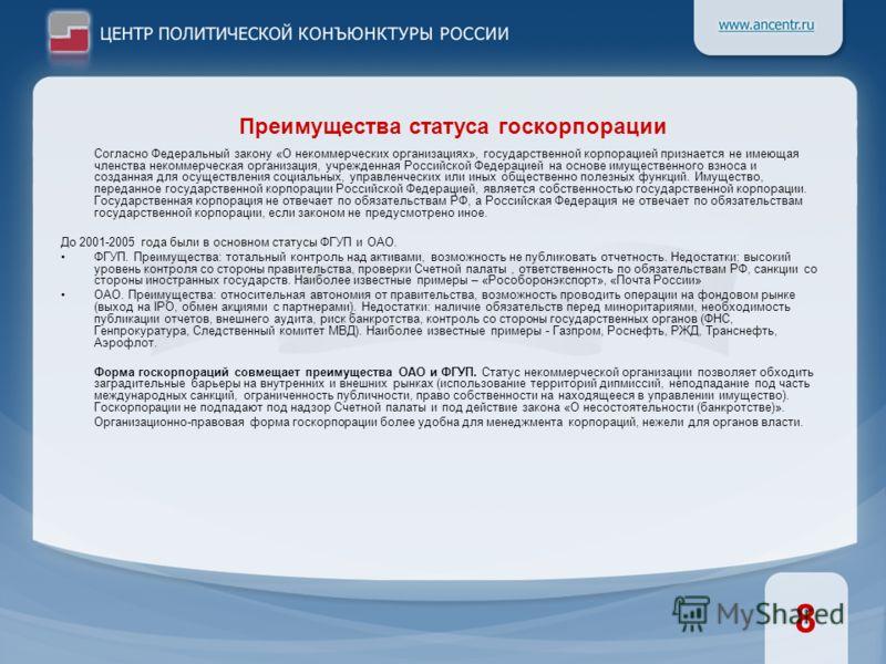 Согласно Федеральный закону «О некоммерческих организациях», государственной корпорацией признается не имеющая членства некоммерческая организация, учрежденная Российской Федерацией на основе имущественного взноса и созданная для осуществления социал