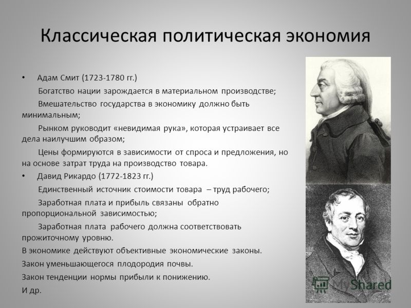 Классическая политическая экономия Адам Смит (1723-1780 гг.) Богатство нации зарождается в материальном производстве; Вмешательство государства в экономику должно быть минимальным; Рынком руководит «невидимая рука», которая устраивает все дела наилуч