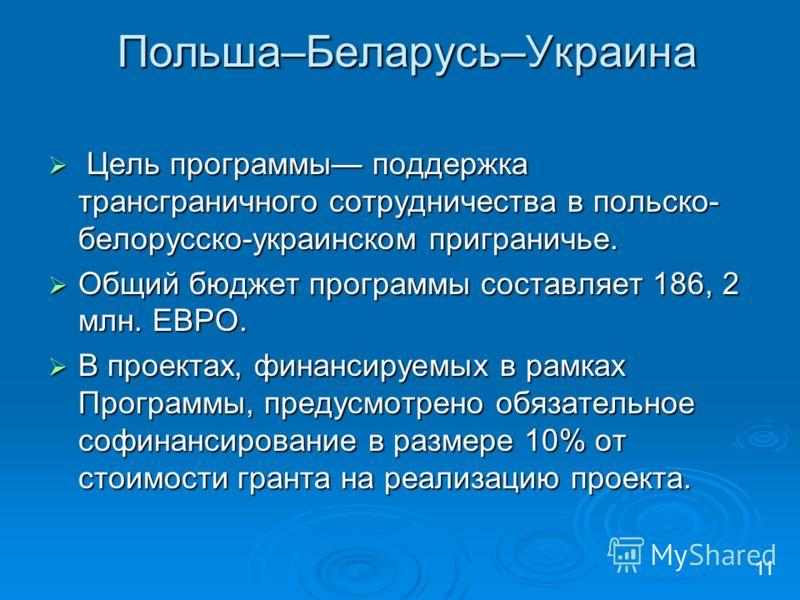 Польша–Беларусь–Украина Цель программы поддержка трансграничного сотрудничества в польско- белорусско-украинском приграничье. Цель программы поддержка трансграничного сотрудничества в польско- белорусско-украинском приграничье. Общий бюджет программы