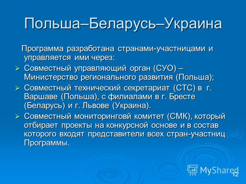 Польша–Беларусь–Украина Программа разработана странами-участницами и управляется ими через: Программа разработана странами-участницами и управляется ими через: Совместный управляющий орган (СУО) – Министерство регионального развития (Польша); Совмест