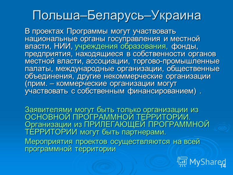 Польша–Беларусь–Украина В проектах Программы могут участвовать национальные органы госуправления и местной власти, НИИ, учреждения образования, фонды, предприятия, находящиеся в собственности органов местной власти, ассоциации, торгово-промышленные п