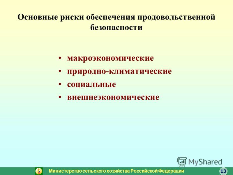 Основные риски обеспечения продовольственной безопасности макроэкономические природно-климатические социальные внешнеэкономические Министерство сельского хозяйства Российской Федерации 13