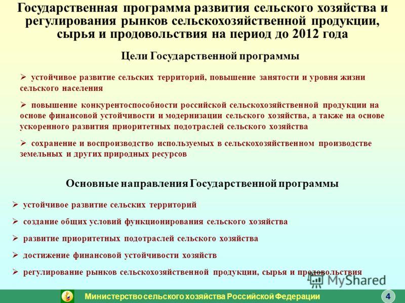 4 Цели Государственной программы устойчивое развитие сельских территорий, повышение занятости и уровня жизни сельского населения повышение конкурентоспособности российской сельскохозяйственной продукции на основе финансовой устойчивости и модернизаци